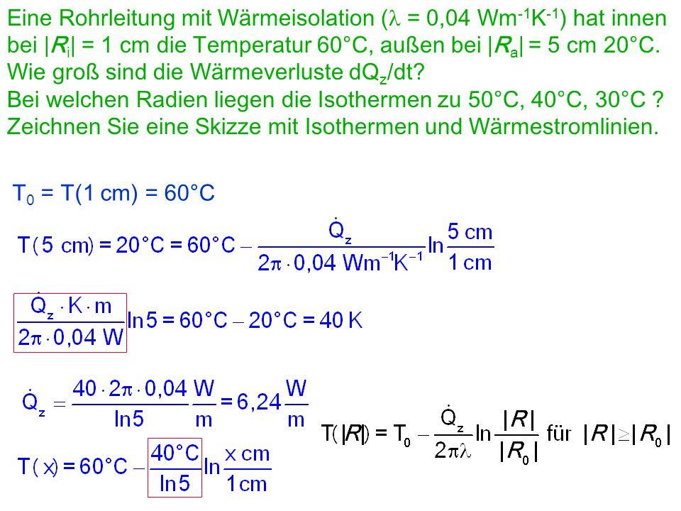 Eine Rohrleitung mit Wärmeisolation (l = 0,04 Wm-1K-1) hat innen bei |Ri| = 1 cm die Temperatur 60°C, außen bei |Ra| = 5 cm 20°C.