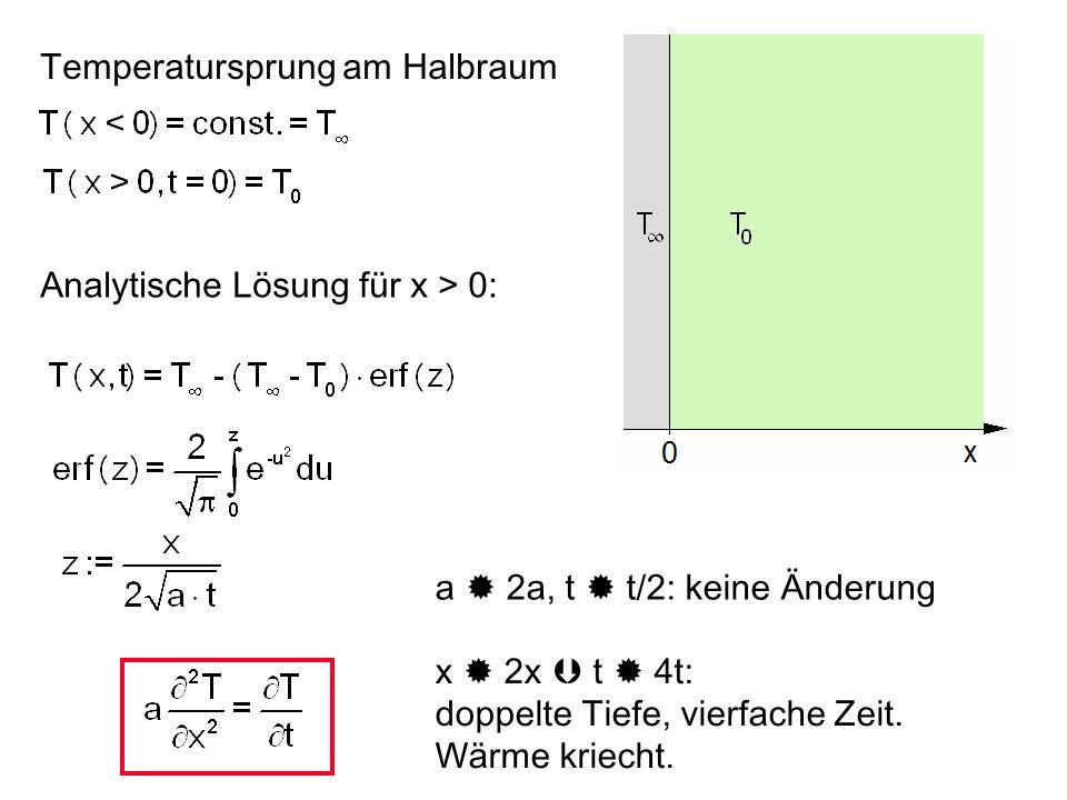 Temperatursprung am Halbraum