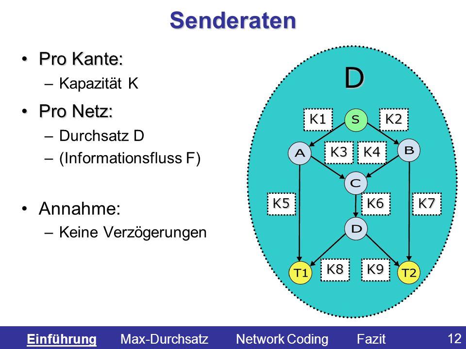 D Senderaten Pro Kante: Pro Netz: Annahme: Kapazität K Durchsatz D