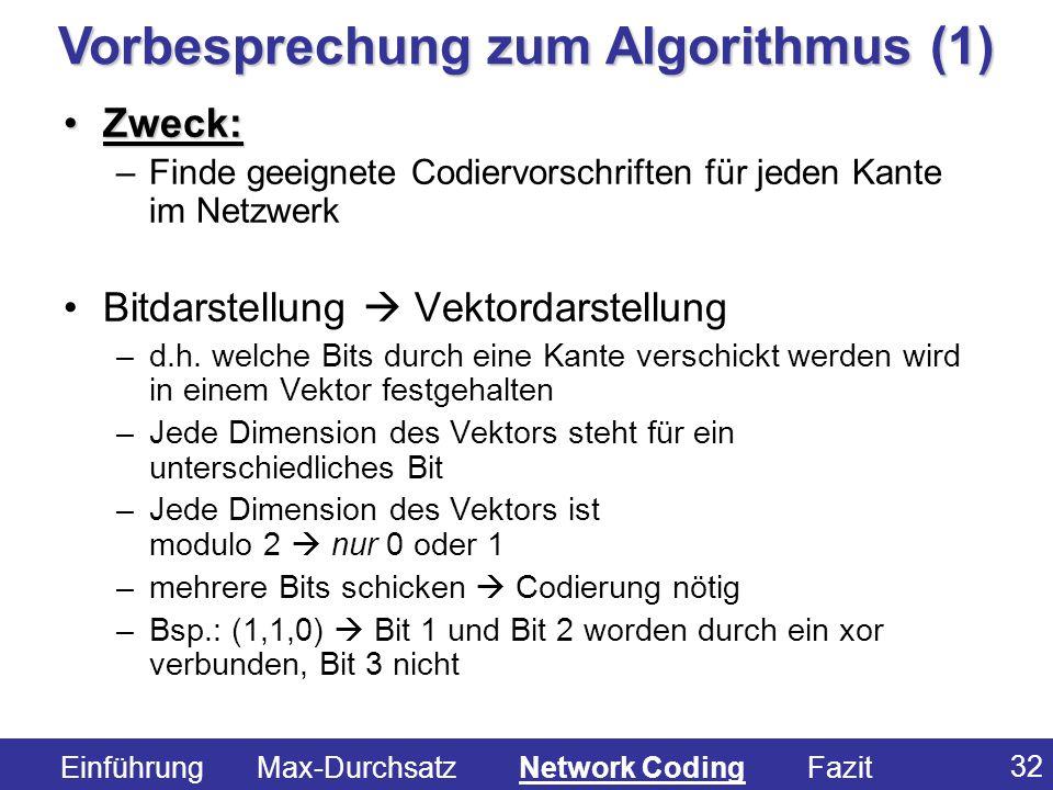Vorbesprechung zum Algorithmus (1)