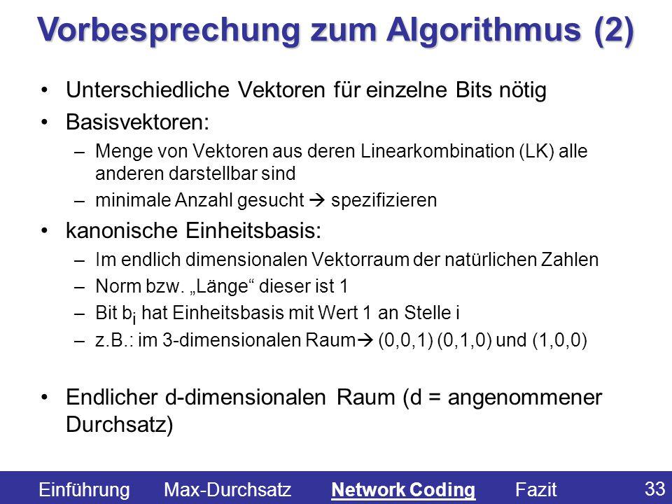 Vorbesprechung zum Algorithmus (2)