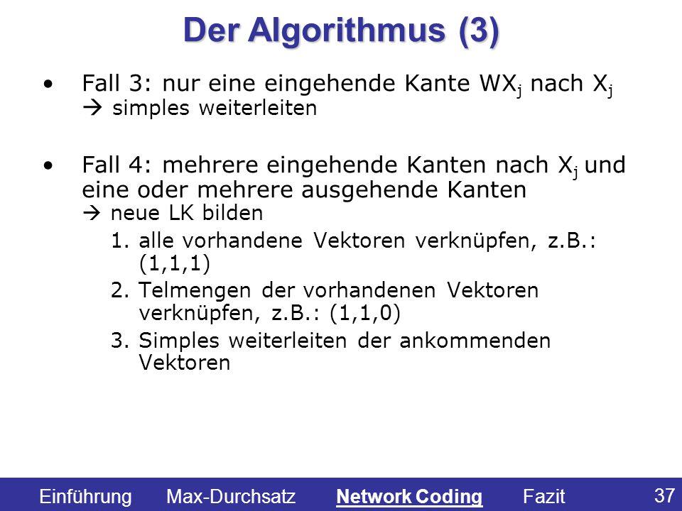 Der Algorithmus (3) Fall 3: nur eine eingehende Kante WXj nach Xj  simples weiterleiten.