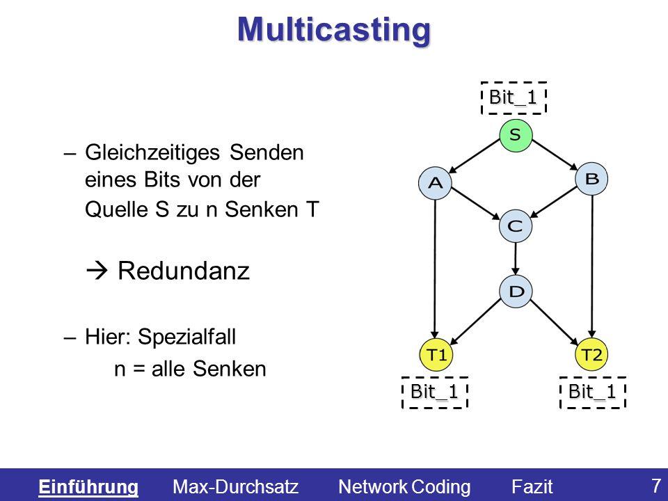 Multicasting Bit_1. Gleichzeitiges Senden eines Bits von der Quelle S zu n Senken T  Redundanz.
