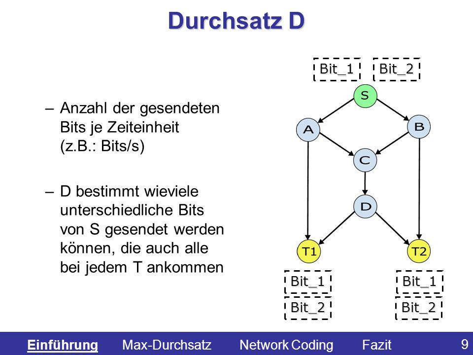 Durchsatz D Anzahl der gesendeten Bits je Zeiteinheit (z.B.: Bits/s)