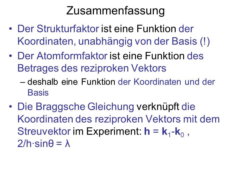 Zusammenfassung Der Strukturfaktor ist eine Funktion der Koordinaten, unabhängig von der Basis (!)