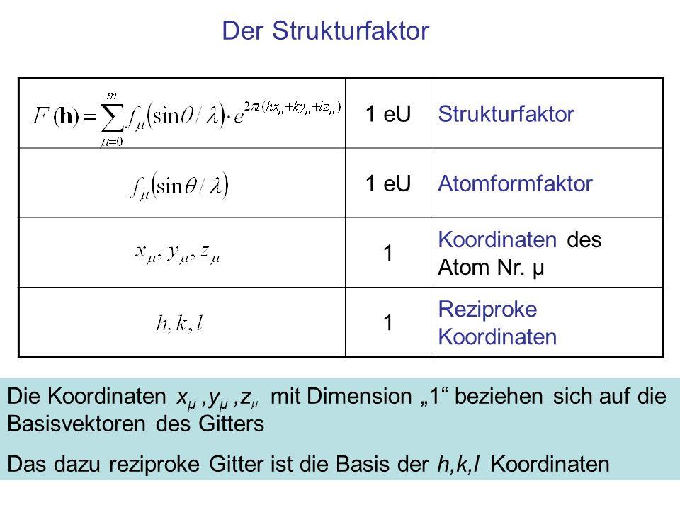 Der Strukturfaktor 1 eU Strukturfaktor Atomformfaktor 1