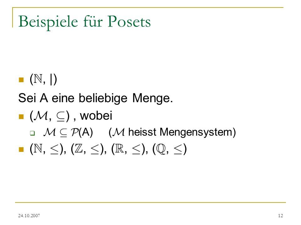 Beispiele für Posets (N, |) Sei A eine beliebige Menge. (M, µ) , wobei
