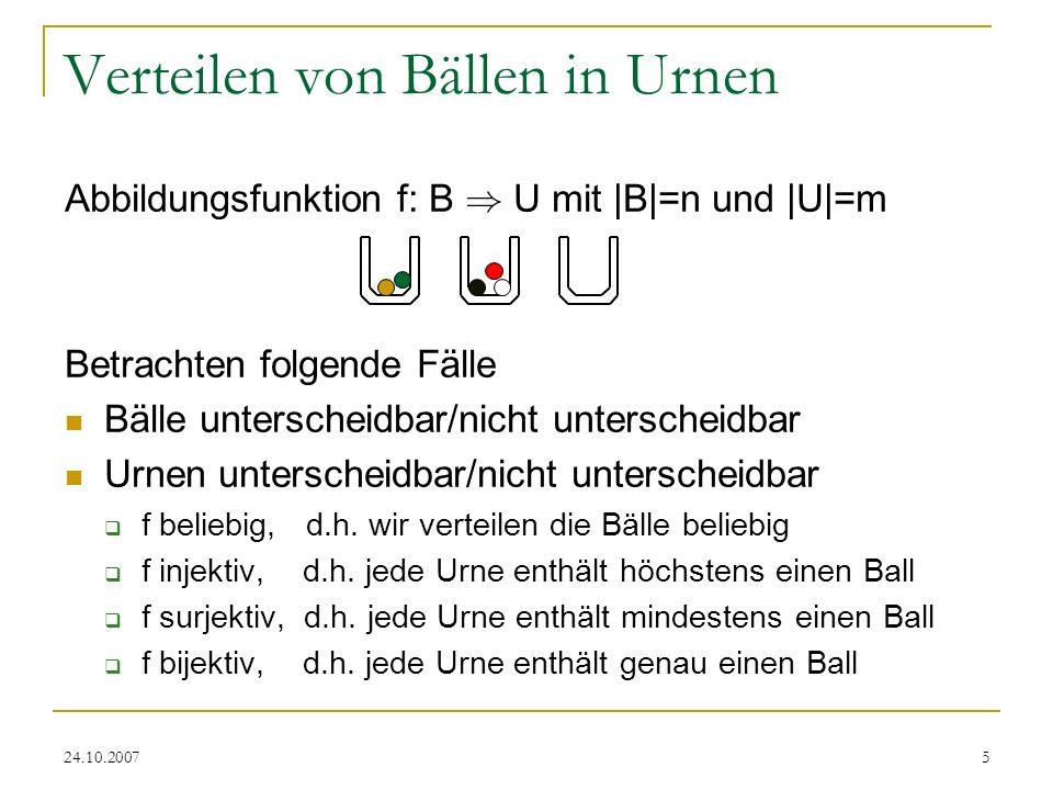 Verteilen von Bällen in Urnen