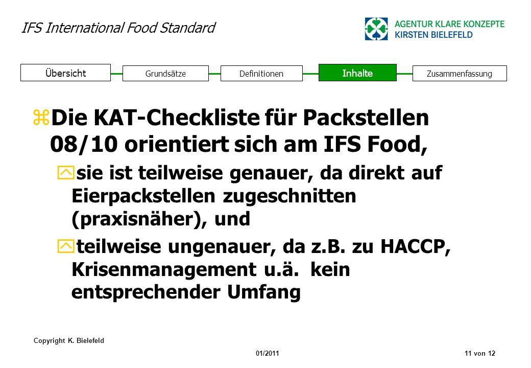 Die KAT-Checkliste für Packstellen 08/10 orientiert sich am IFS Food,