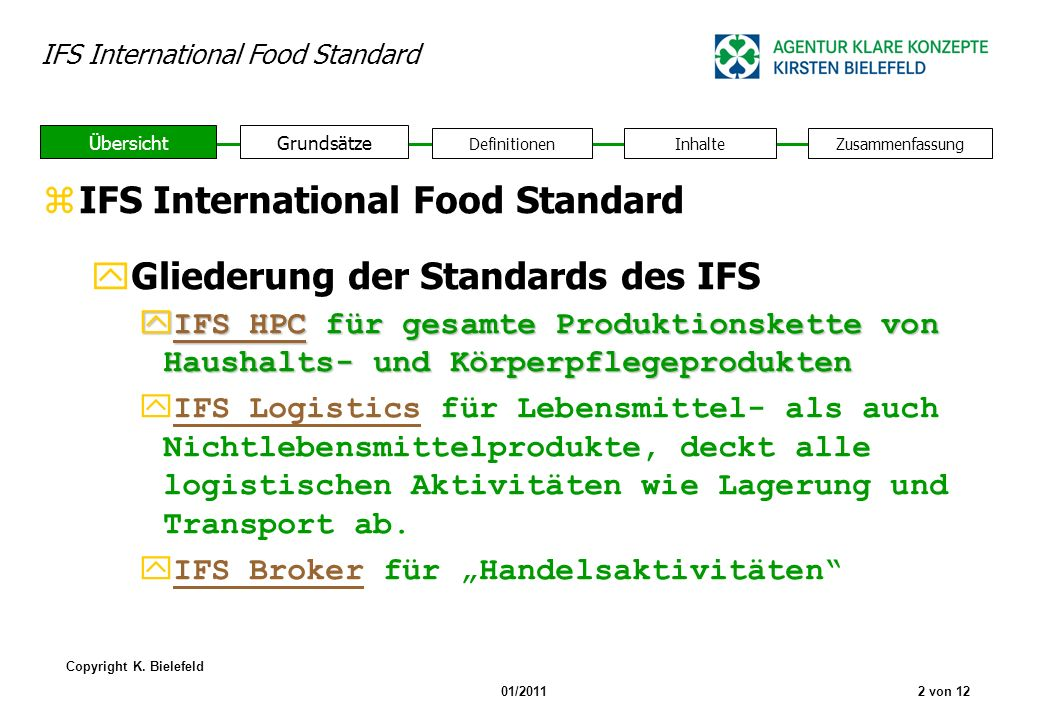 IFS International Food Standard Gliederung der Standards des IFS