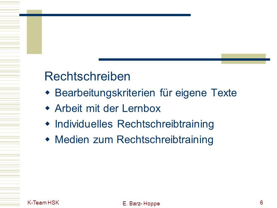 Rechtschreiben Bearbeitungskriterien für eigene Texte