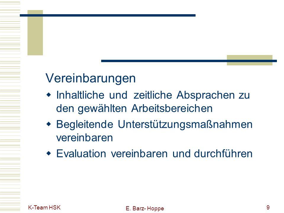 Vereinbarungen Inhaltliche und zeitliche Absprachen zu den gewählten Arbeitsbereichen. Begleitende Unterstützungsmaßnahmen vereinbaren.