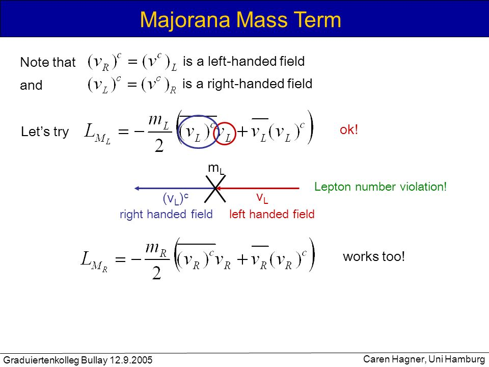 Majorana Mass Term Note that is a left-handed field and