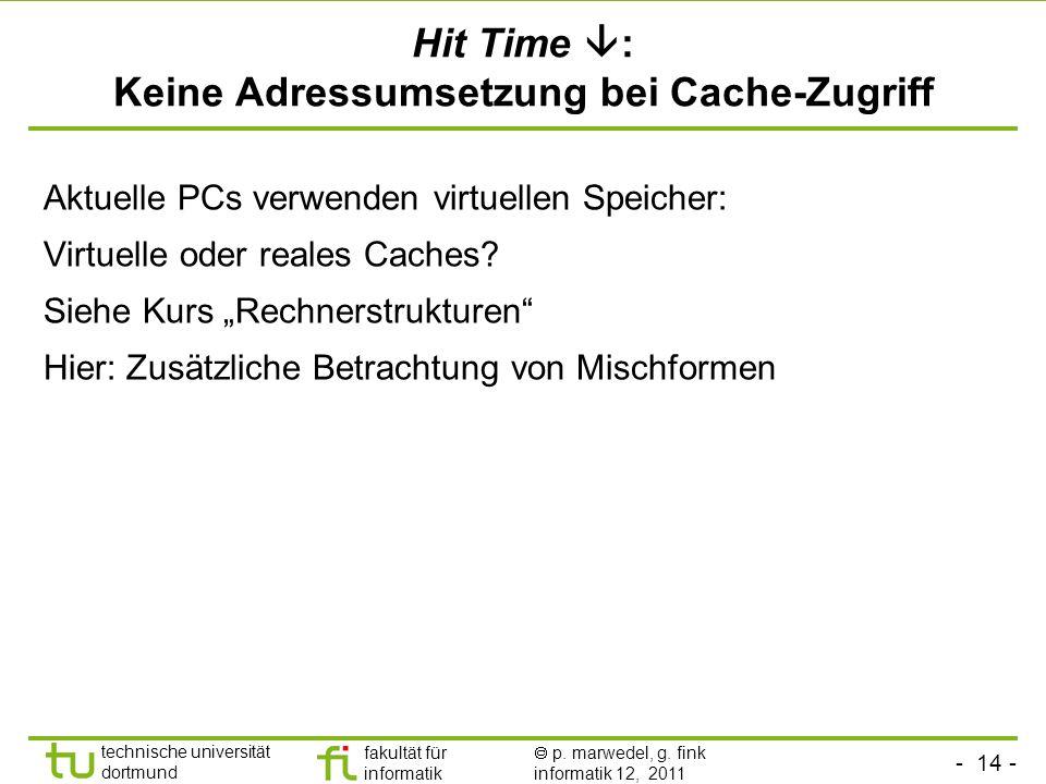 Hit Time : Keine Adressumsetzung bei Cache-Zugriff