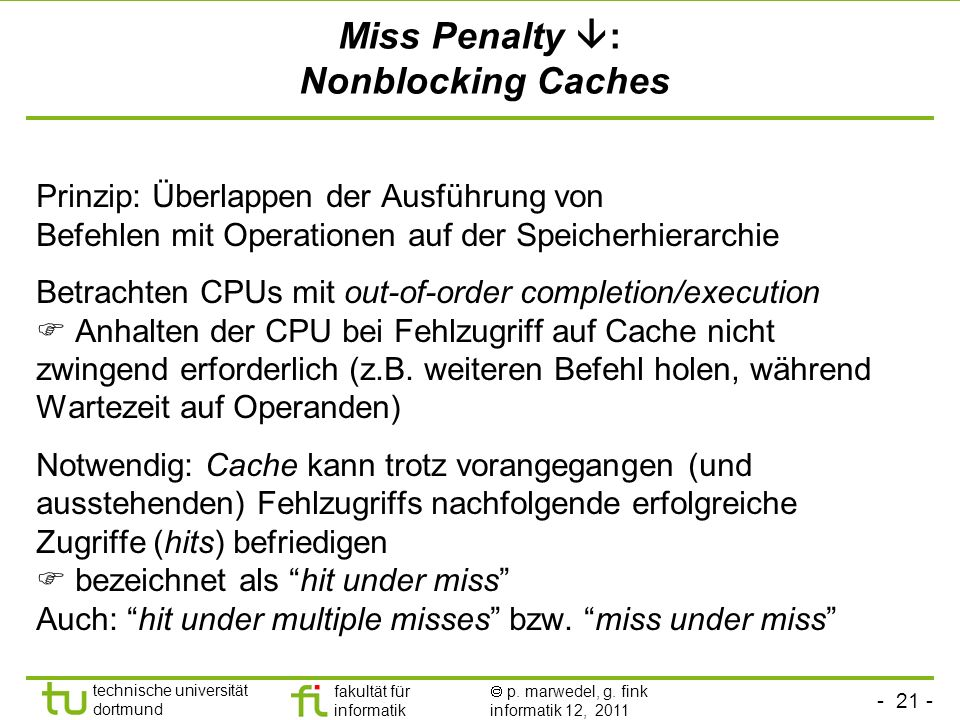 Miss Penalty : Nonblocking Caches