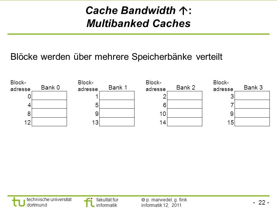 Cache Bandwidth : Multibanked Caches