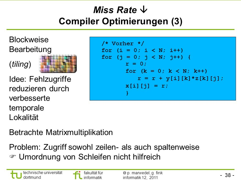 Miss Rate  Compiler Optimierungen (3)