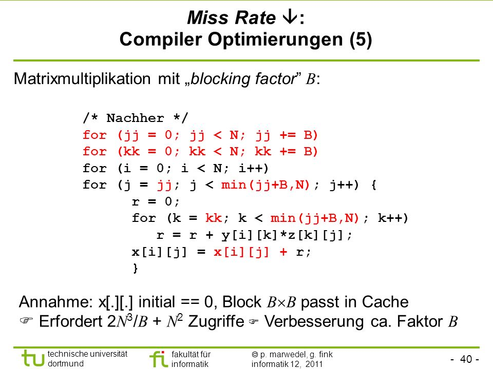 Miss Rate : Compiler Optimierungen (5)