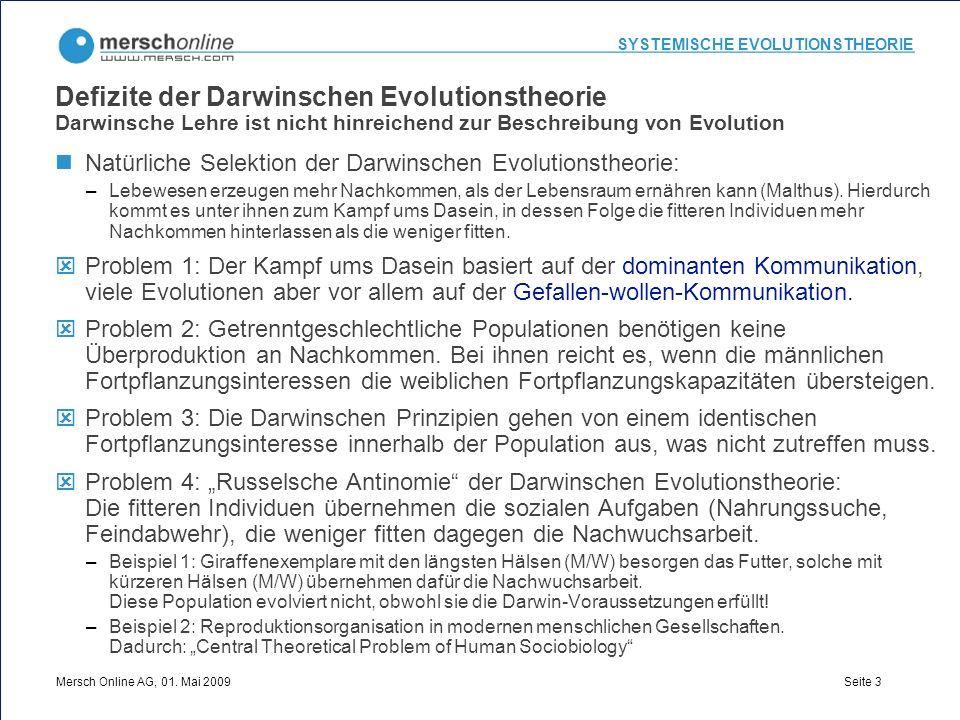 Defizite der Darwinschen Evolutionstheorie Darwinsche Lehre ist nicht hinreichend zur Beschreibung von Evolution