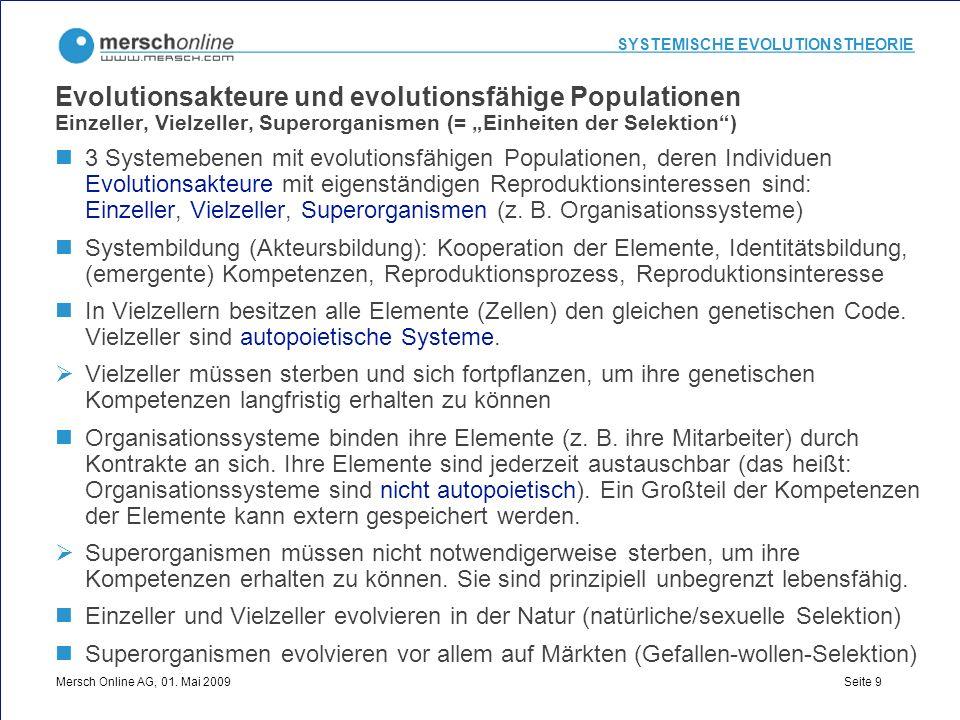 """Evolutionsakteure und evolutionsfähige Populationen Einzeller, Vielzeller, Superorganismen (= """"Einheiten der Selektion )"""