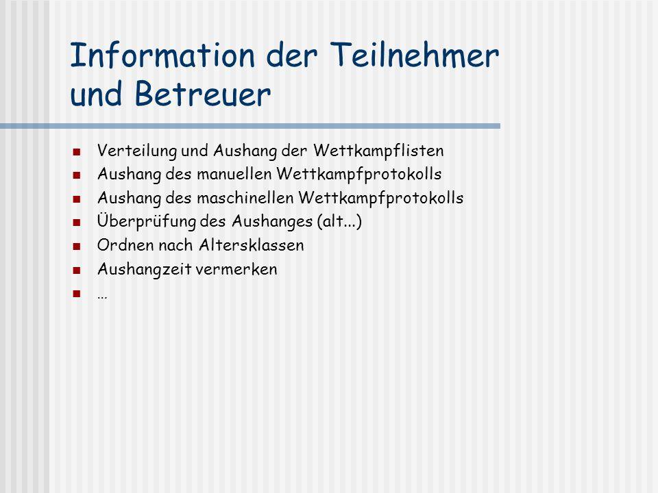 Information der Teilnehmer und Betreuer