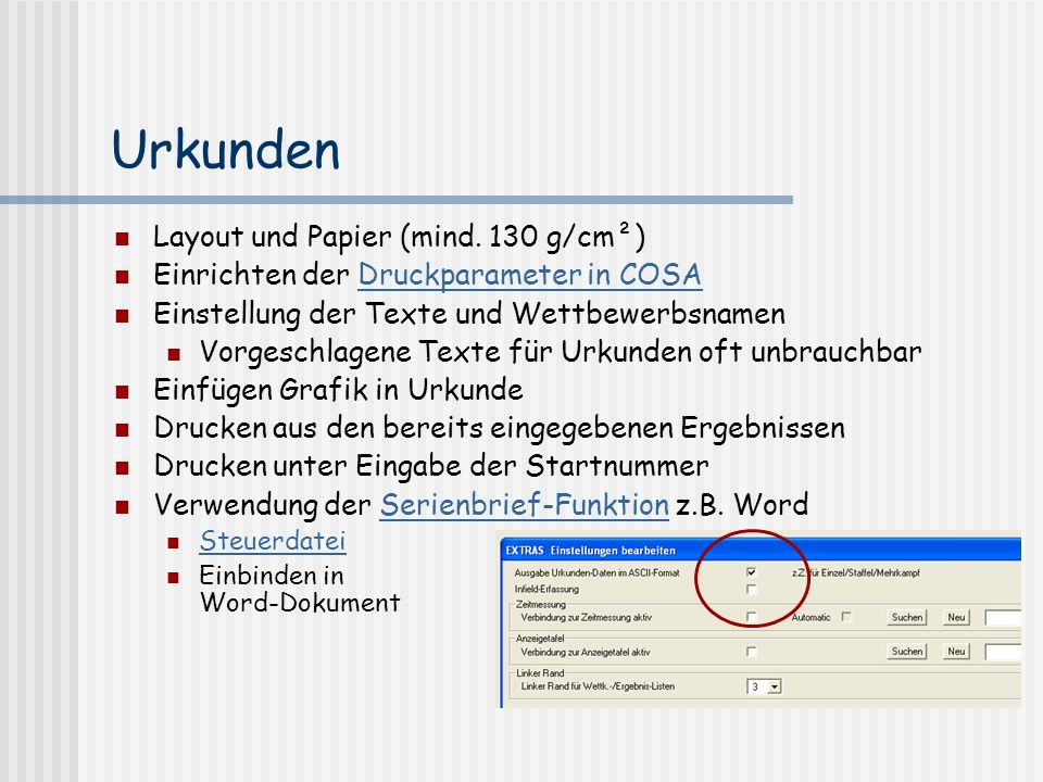 Urkunden Layout und Papier (mind. 130 g/cm²)