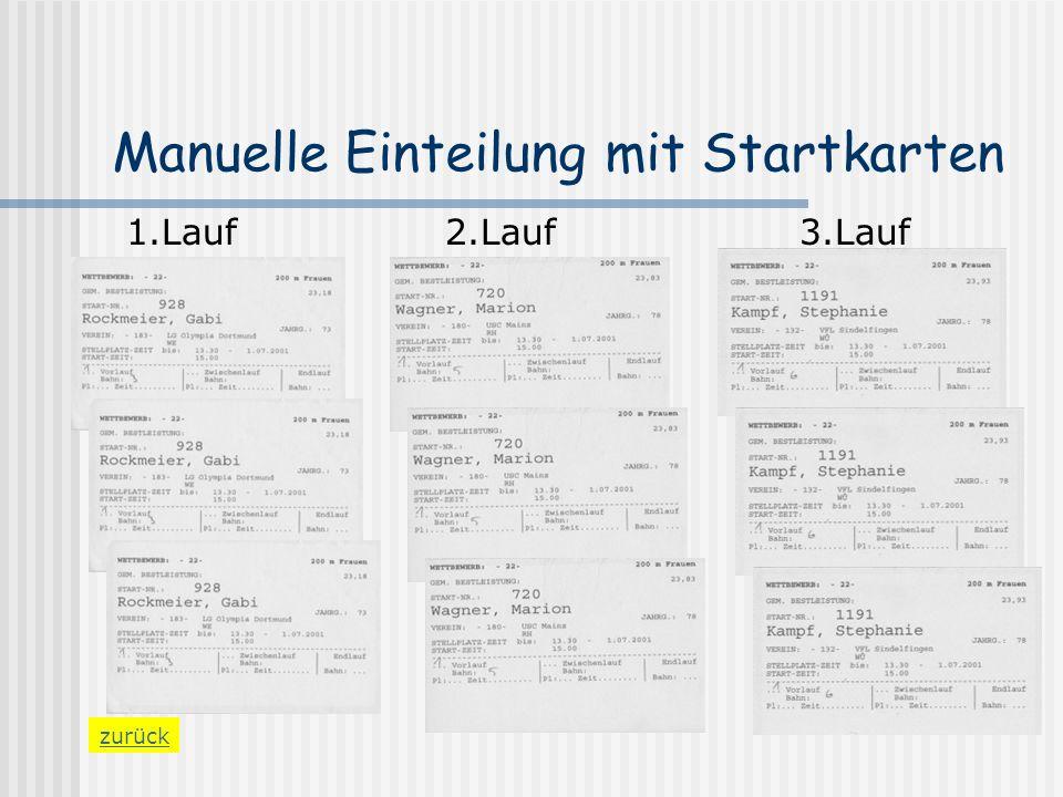 Manuelle Einteilung mit Startkarten