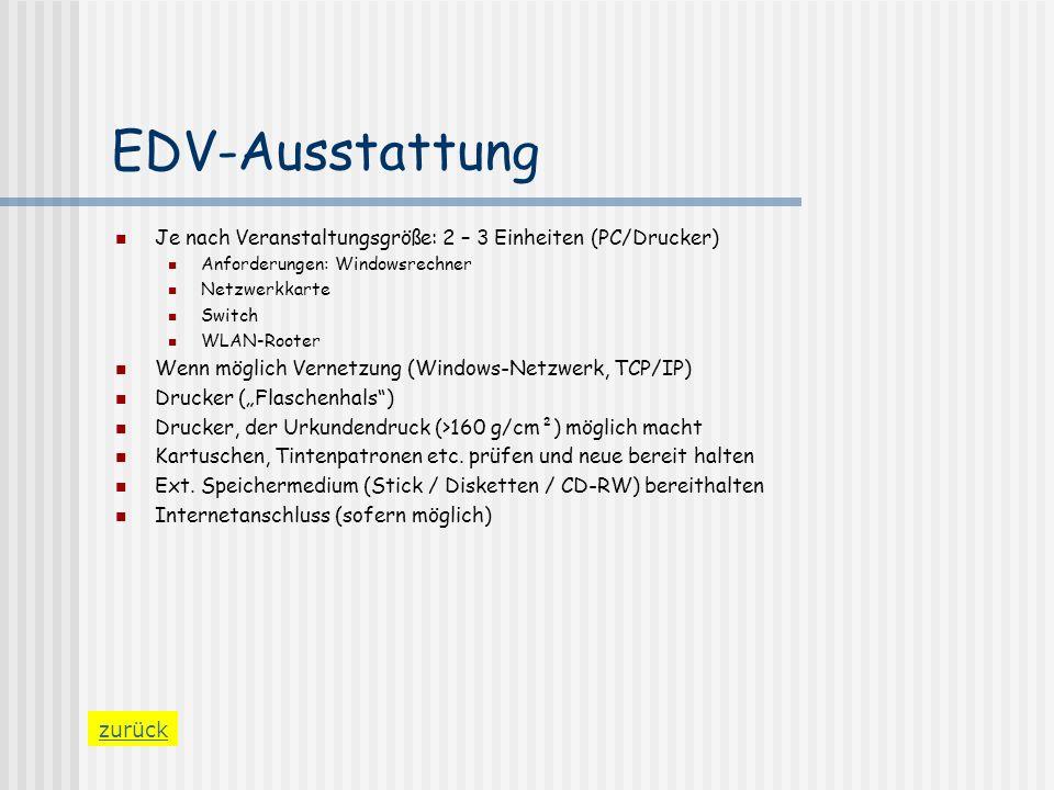 EDV-Ausstattung Je nach Veranstaltungsgröße: 2 – 3 Einheiten (PC/Drucker) Anforderungen: Windowsrechner.
