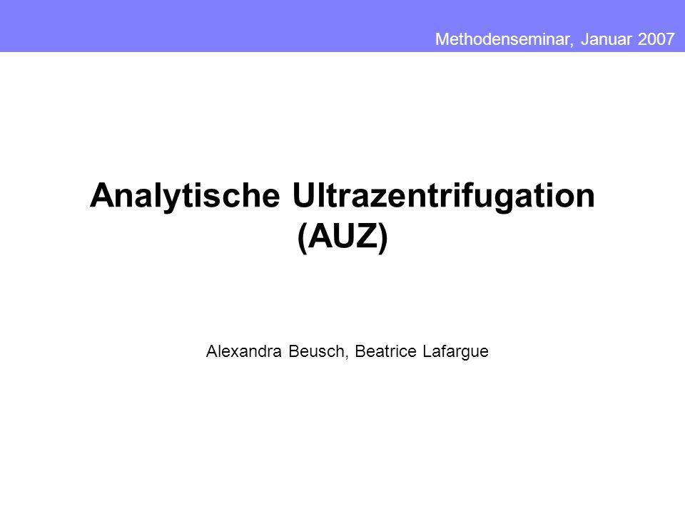 Analytische Ultrazentrifugation (AUZ)