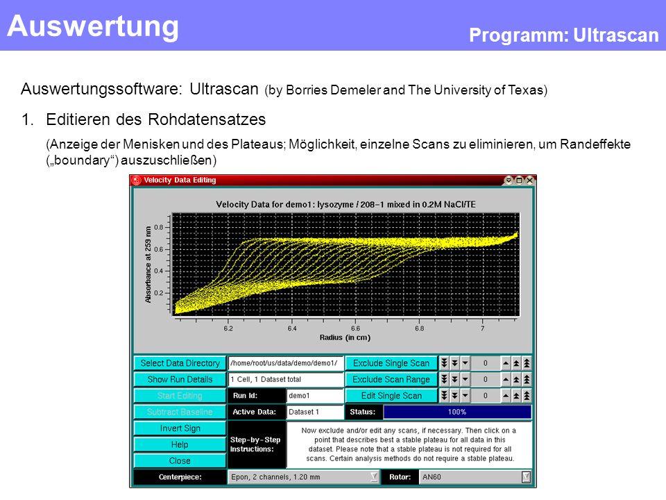 Auswertung Programm: Ultrascan