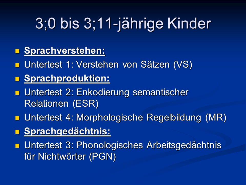 3;0 bis 3;11-jährige Kinder Sprachverstehen: