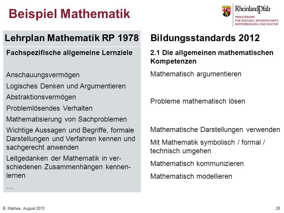 Beispiel Mathematik Lehrplan Mathematik RP 1978 Bildungsstandards 2012