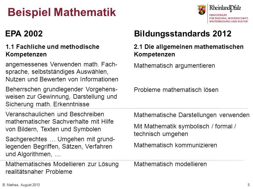Beispiel Mathematik EPA 2002 Bildungsstandards 2012