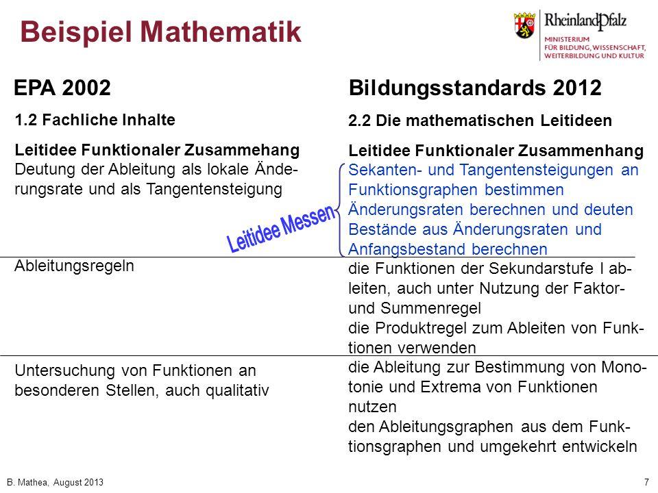 Beispiel Mathematik EPA 2002 Bildungsstandards 2012 Leitidee Messen