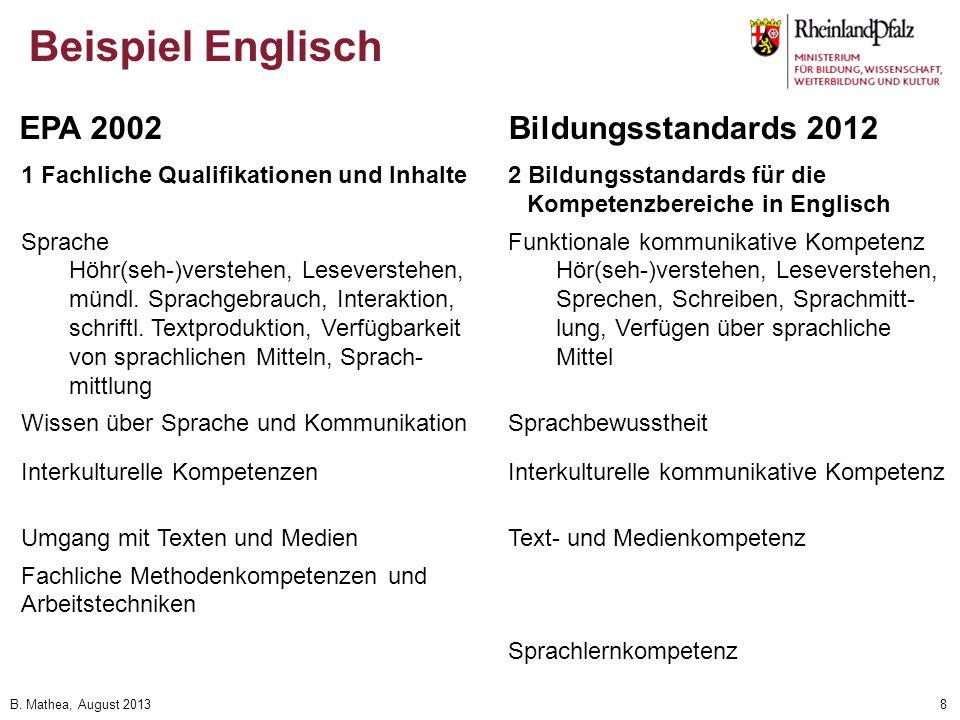 Beispiel Englisch EPA 2002 Bildungsstandards 2012