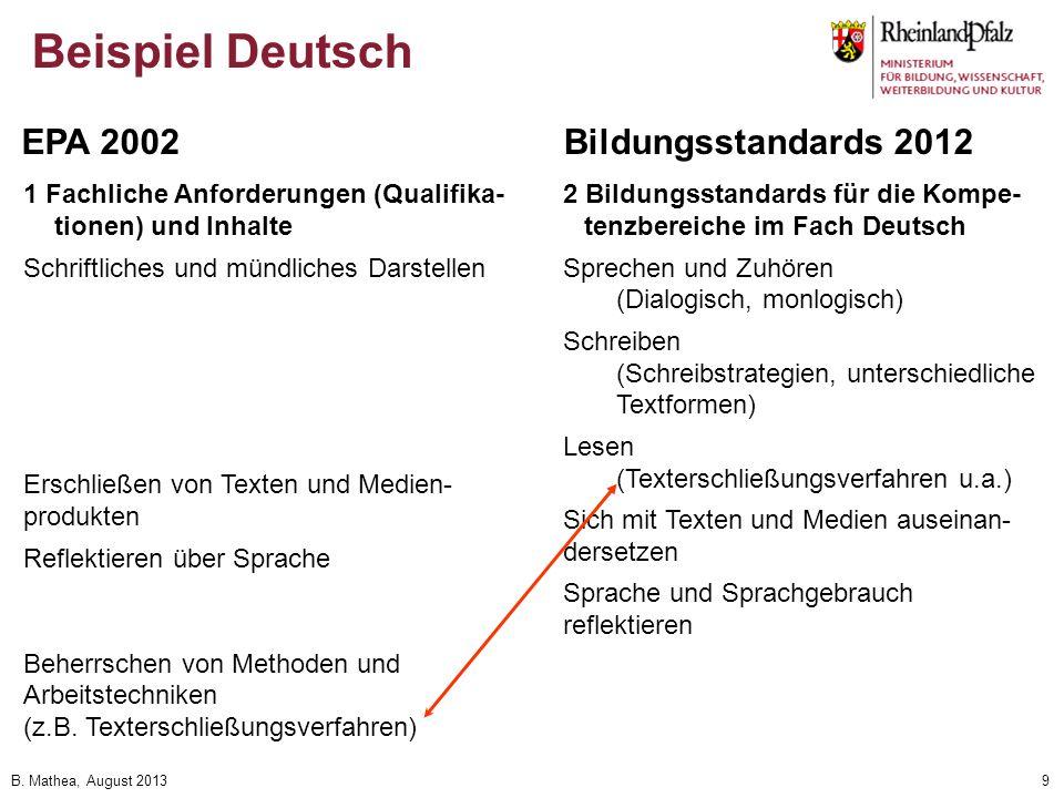 Beispiel Deutsch EPA 2002 Bildungsstandards 2012