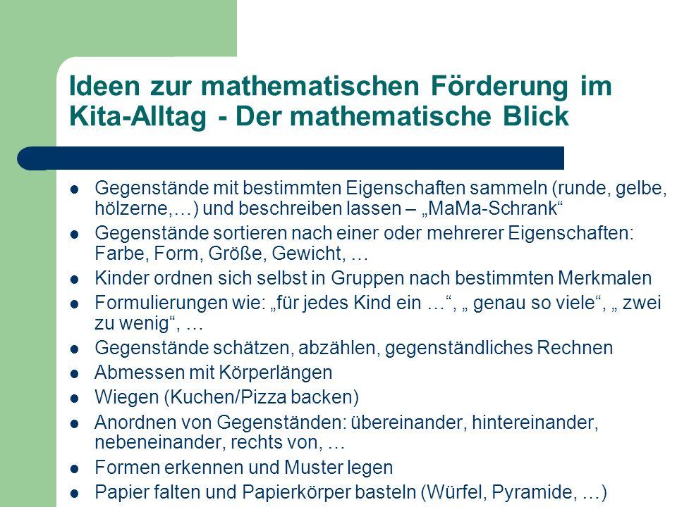 Ideen zur mathematischen Förderung im Kita-Alltag - Der mathematische Blick