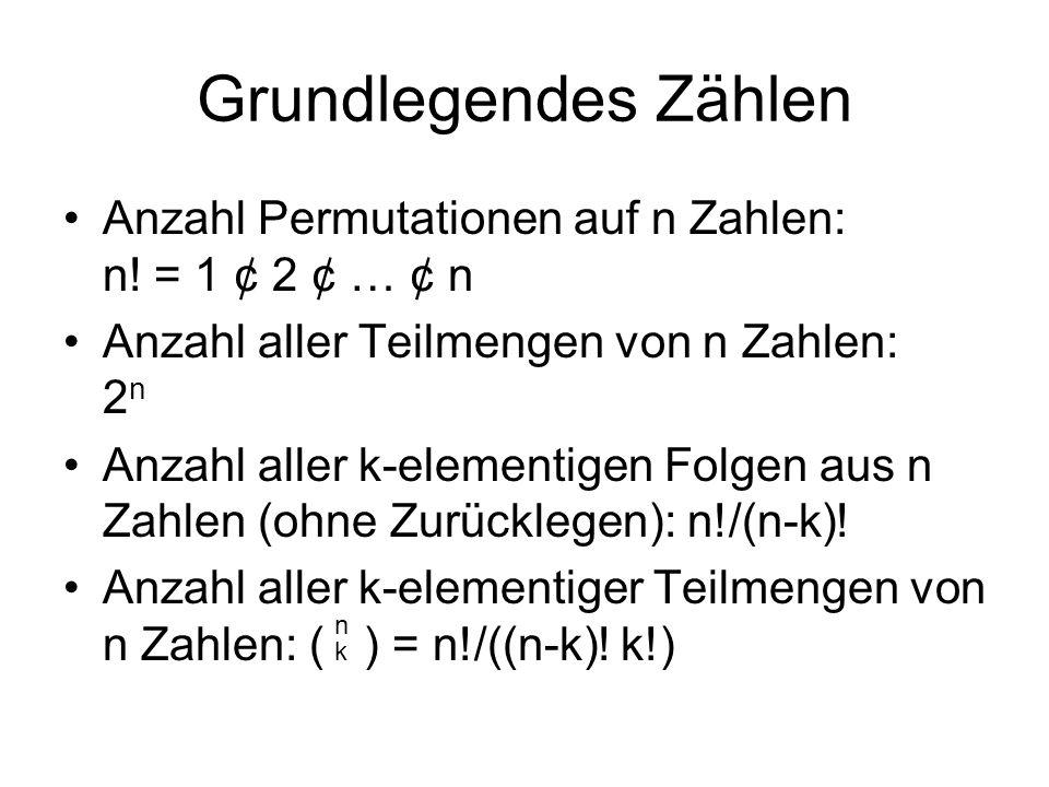 Grundlegendes Zählen Anzahl Permutationen auf n Zahlen: n! = 1 ¢ 2 ¢ … ¢ n. Anzahl aller Teilmengen von n Zahlen: 2n.