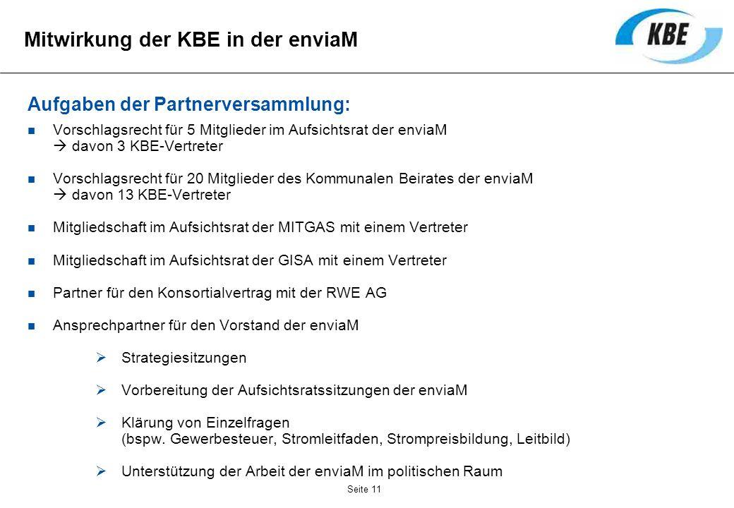 Mitwirkung der KBE in der enviaM