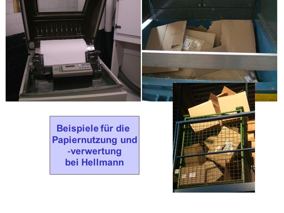 Beispiele für die Papiernutzung und verwertung bei Hellmann