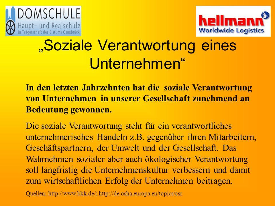 """""""Soziale Verantwortung eines Unternehmen"""