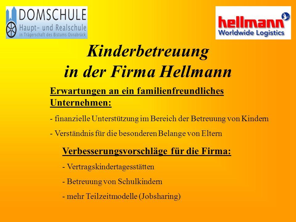 Kinderbetreuung in der Firma Hellmann