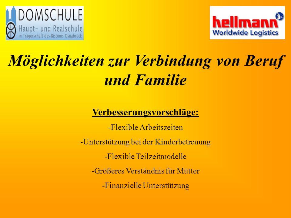 Möglichkeiten zur Verbindung von Beruf und Familie
