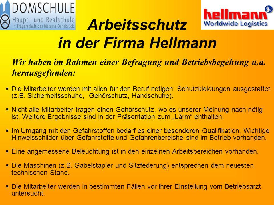 Arbeitsschutz in der Firma Hellmann