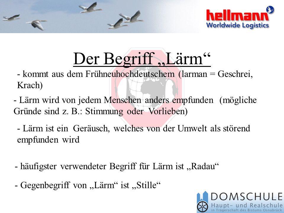 """Der Begriff """"Lärm kommt aus dem Frühneuhochdeutschem (larman = Geschrei, Krach)"""