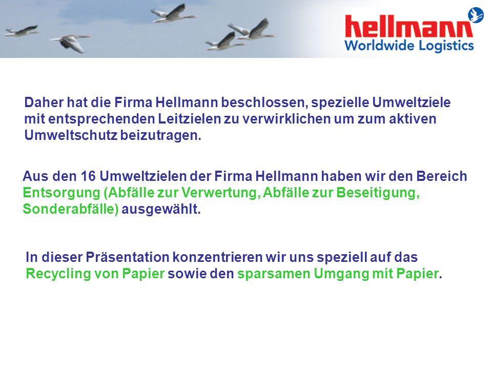 Daher hat die Firma Hellmann beschlossen, spezielle Umweltziele mit entsprechenden Leitzielen zu verwirklichen um zum aktiven Umweltschutz beizutragen.
