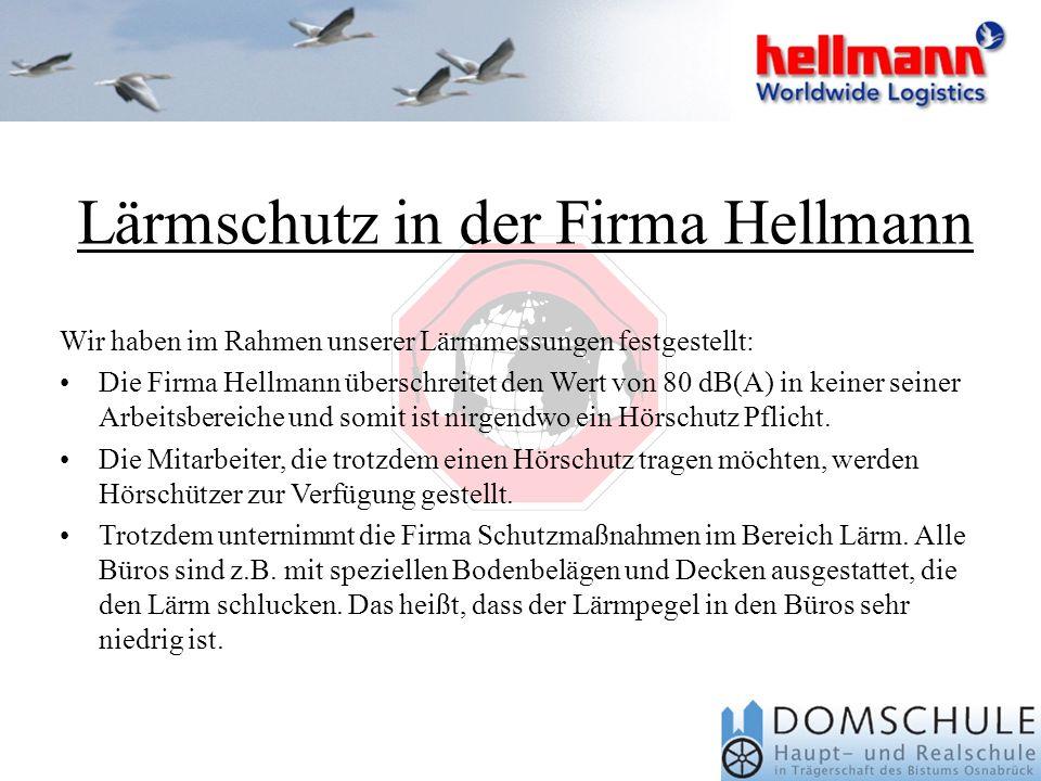 Lärmschutz in der Firma Hellmann