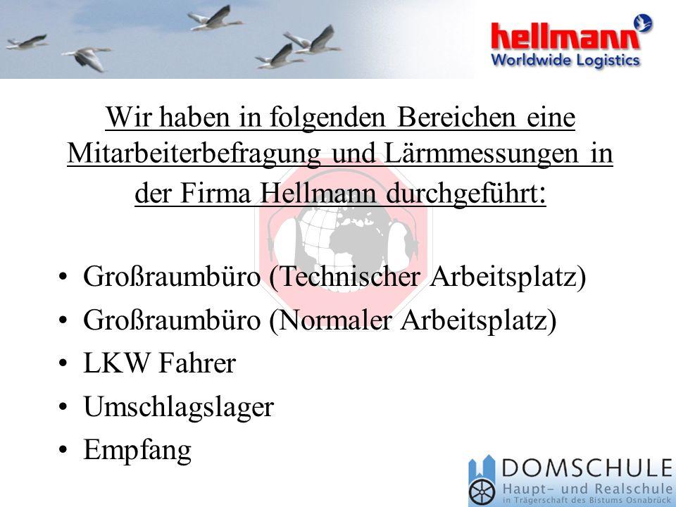 Wir haben in folgenden Bereichen eine Mitarbeiterbefragung und Lärmmessungen in der Firma Hellmann durchgeführt: