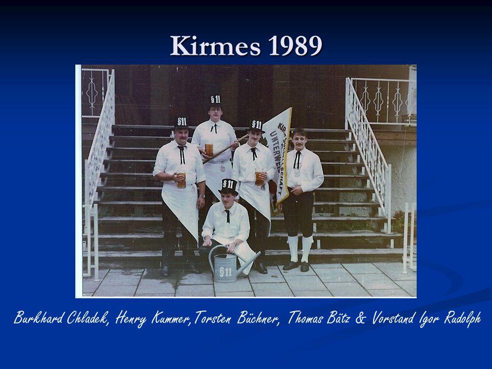 Kirmes 1989 Burkhard Chladek, Henry Kummer,Torsten Büchner, Thomas Bätz & Vorstand Igor Rudolph