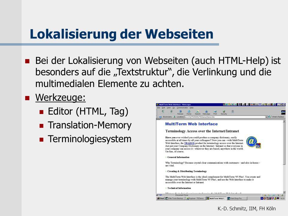 Lokalisierung der Webseiten